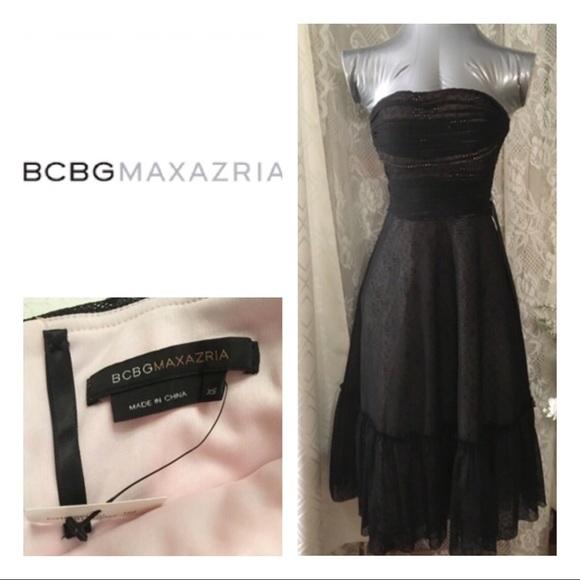 abb0d75e6a BCBGMaxAzria Dresses | New Black Lace Tulle Strapless Dress | Poshmark